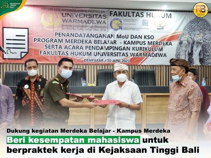 Kejaksaan Tinggi Bali dan Universitas Warmadewa menyepakati MoU Tentang Tri Dharma Perguruan Tinggi (Merdeka Belajar-Kampus Merdeka)