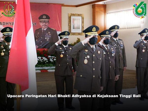 Plt. Kepala Kejaksaan Tinggi Bali beserta Para Asisten dan Kabag TU mengikuti Upacara dalam rangka memperingati Hari Bhakti Adyaksa ke-61 yang dilaksanakan secara virtual dari Kejaksaan Agung